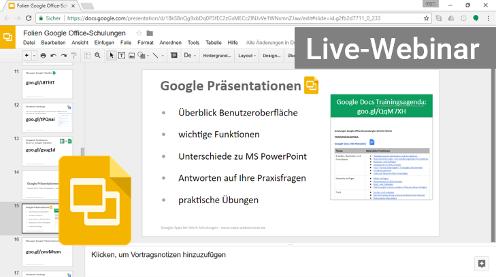 Google Slides Präsentationen Webinar