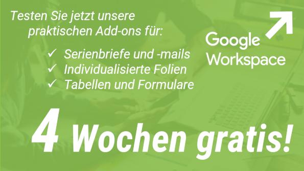 Deutsche G Suite Add-ons 4 Wochen gratis!
